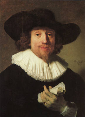 Portrait of Heinrich Sch�tz by Rembrandt